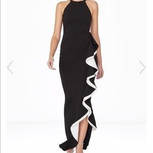 Parker Black Label Ruffle Black Maxi Dress